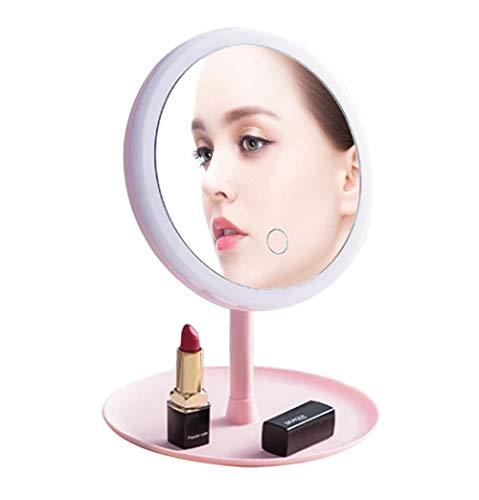 BIGTO Specchio con illuminazione ricaricabile, 3 livelli di luce, orientabile a 90 gradi e dimmerabile touchscreen, specchio cosmetico portatile da viaggio con luci, regalo per ragazze