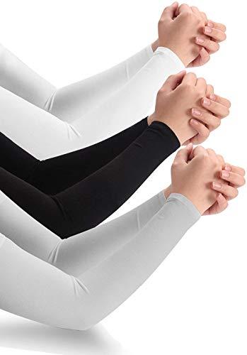NEAWO UV-Sonnenschutz für Damen und Herren Arm Sleeves, Armstulpen UV-Sonnenschutz Anti-Rutsch Sport Armbandagen für Damen Herren (Schwarz-Weiß-Grau)