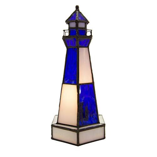 Tiffany Style Lighthouse Glass Accent Lamp