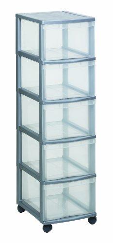 Rotho Schubladenschrank OPTIMO Tower, flexibles und stabiles Schubladensystem mit 5 Schüben aus Kunststoff, silbernes Gehäuse und transparente Schubladen, ca. 38,5 x 30 x 85,3 cm