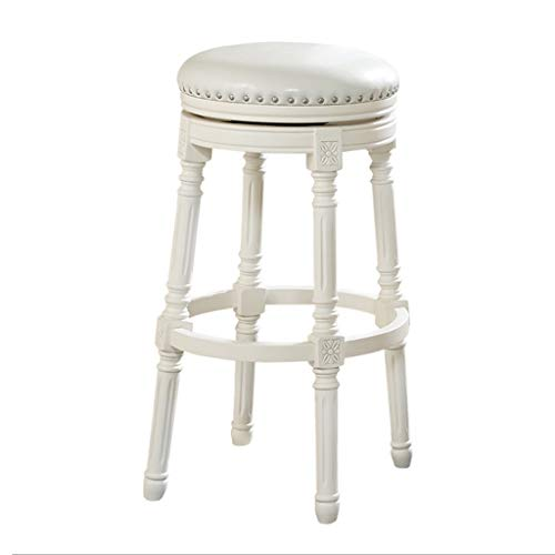 XQAQX kruk ontbijt retro barkruk massief hout leer draai cafe stoel stoel, 38 * 76 cm, wit stool