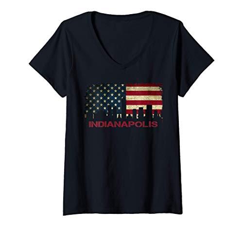 Mujer Indianapolis Indiana City Skyline Art USA Bandera Americana Camiseta Cuello V
