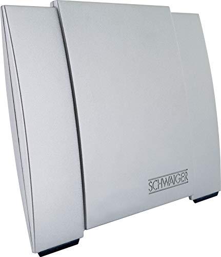 SCHWAIGER -DTA3000 011- DVB-T2 Allround-Antenne | Empfang von Radio- und Fernsehprogrammen | integrierter LTE-Sperrfilter | eingebauter Verstärker | silber