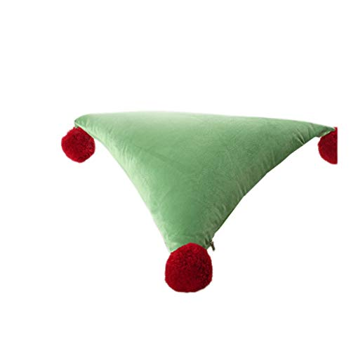 LF- Triangle cushion 50 cm * 50 cm creative waist pillow sofa, living room, office solid color pillow support (Color : Green)