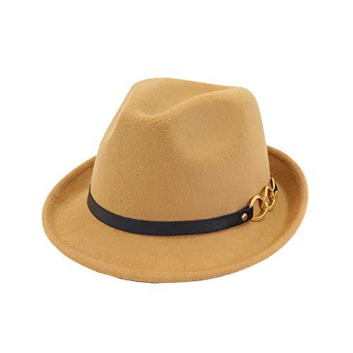 Ofgcfbvxd Ladies Top Hat Herbst- und Winterwool-britischer Stil lockiger Zylinder Ladies Banquet Top Hat (Color : Camel, Size : 58cm)