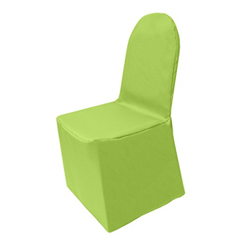 Ultimate Textile -10 Pack- Polyester Banquet Chair Cover - for Wedding or Party use, Lime Green