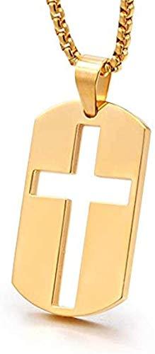Collar Mujer Collar Hombres Etiquetas de perro Collar Color dorado Acero inoxidable Cruz hueca Collar Caja Cadena Crucifijo Collares pendientes para hombres y mujeres Collar colgante Niñas Niños Regal