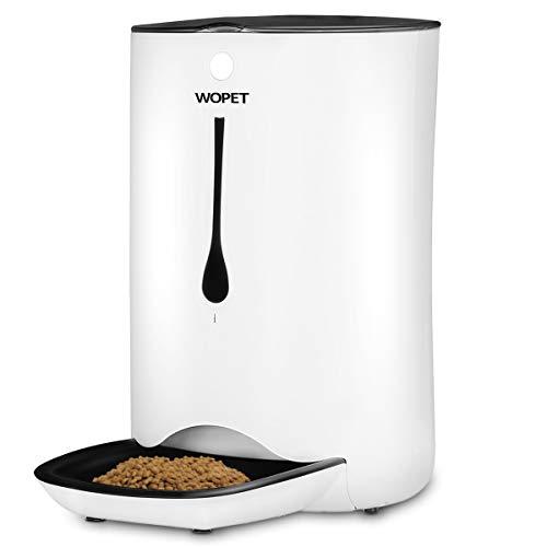WOPET 7L Futterautomat Automatisch Futterspender Pet Feeder für Katze und Hund in alle Größe mit Portion-Kontrolle Zeitsteuerung Ton-Rekorder und bis zu 4 Mahlzeiten pro Tag und 2 Futterrader