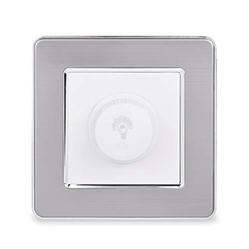 Regulador de atenuación solo para luz LED/interruptor de pared de panel de acero inoxidable incandescente 16A 15~300W Brillo ajustable White A 220-250V 1-Gang