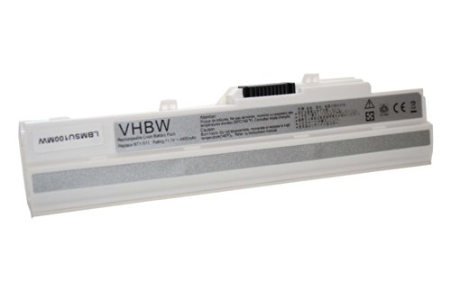 vhbw Batterie Li-ION 4400mAh 11.1V en Blanc pour MEDION AKOYA Mini E1210, E1212, E2312 etc. Netbook Notebook Laptop SUBNOTEBOOK