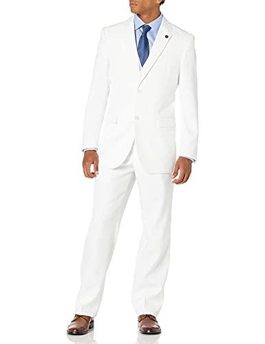 Stacy Adams Men's Suny Vested 3 Piece Suit, White, 42 Regular/W35