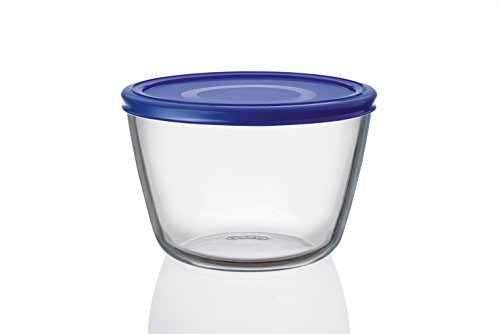 Pyrex Cook n Fresh - Round Glass Storage Dish with Cobalt Blue Plastic Lid - 1.6L (Ø 17cm, Height 11cm)