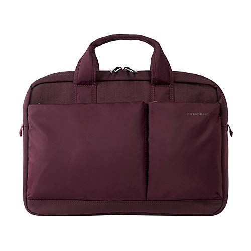 Tucano-Slim bag for Laptop up to 14' inches and MacBook Pro 15' Retina. Business Bag and University. Man and Woman. Document holder, Durable. Pockets for iPhone and iPad. Shoulder Bag Included