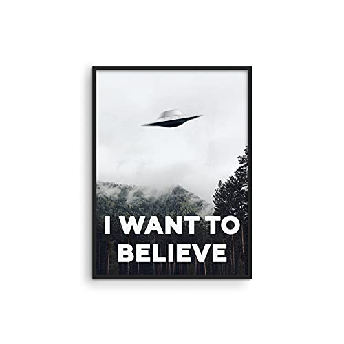 Haus and Hues The X Files I Want To Believe Poster - I Want To Believe Posters X Files UFO Posters for Room Aesthetic Trippy Posters for Room X Files Poster I Believe Poster Art Print UNFRAMED 12'X16'