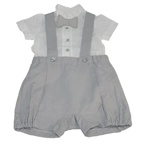 Dr.Kid Conjunto de camisa y mono, bermuda de 2 piezas de algodón para bebé de 0 a 24 meses, nacimiento, macho, completo clínico, blanco y gris Blanco y gris 9 mes