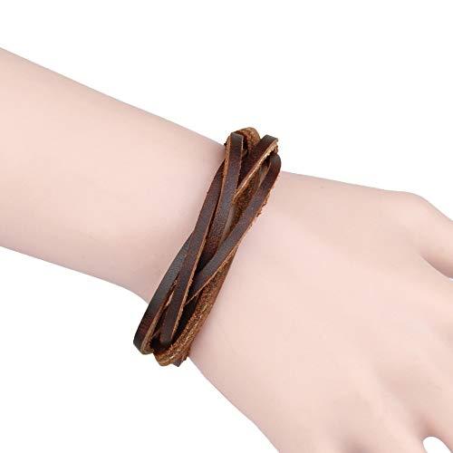 XKMY Pulsera de cuero negro y marrón para hombre, multicapa, cuerda trenzada, pulsera para hombre, pulsera de joyería masculina y femenina para mujer (color de metal: marrón)