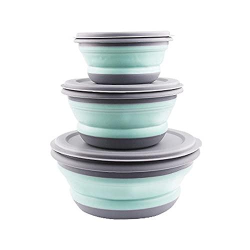 QWSNED Tazones de mezcla,3pcs/Set Bowl Sets,Caja de almuerzo plegable de silicona,Tazón plegable...