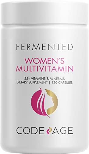Women's Daily Multivitamin, 25+ Vitamins & Minerals, Fermented, Organic Whole Foods,Probiotics Supplement - Vitamin A, Vitamin B, Vitamins C, D, E & K, Omega 3, Zinc – Vegan - 120 Capsules
