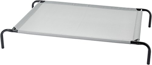 AmazonBasics Large Elevated Cooling Pet Dog Cot Bed - 51 x 31 x 8 Inches, Grey