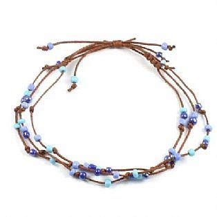 Handmade 3 String Adjustable Bead Surf Anklet (Blue)