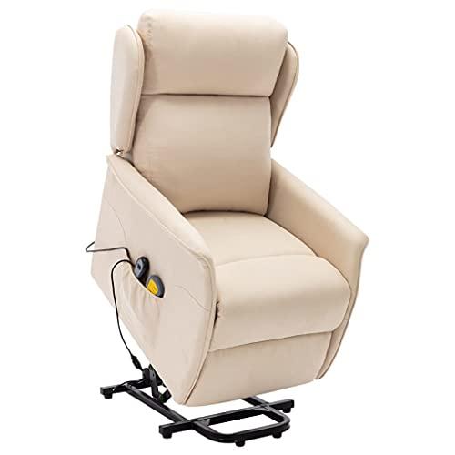 vidaXL Massagesessel mit Aufstehhilfe Heizung Elektrisch TV Sessel Fernsehsessel Relaxsessel Ruhesessel Aufstehsessel Liegesessel Creme Stoff