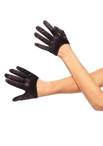 Leg Avenue Women's Mini Cropped Satin Gloves, Black, One Size