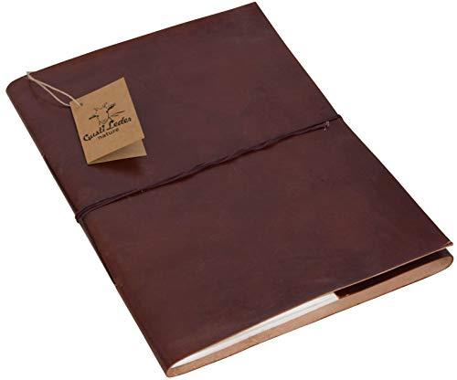 Gusti Leder nature Buch Notizblock Tagebuch Skizzenbuch Kladde Traditionell Groß Lederaccessoire...
