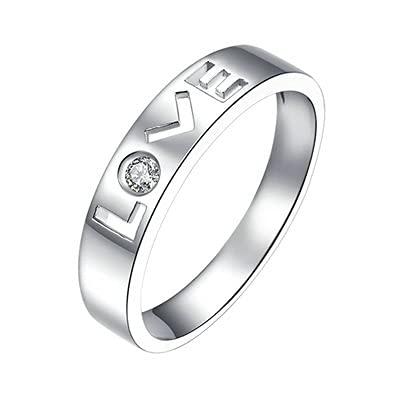 Bishilin Platino 950,'Love Diamante Anillo de Boda de Compromiso de Eternidad Ajuste Cómodo Regalos para Cumpleaños Fiesta de Navidad Regalo de Las Mujeres Hombrestamaño: 27