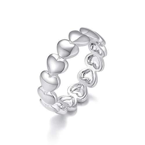 Italina Fashion Jewelry - Anillo con Forma de corazón para Mujer, tamaño 8, Chapado en Oro Blanco de 18 Quilates