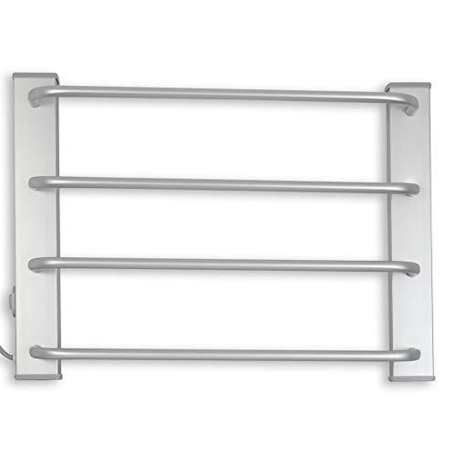 FISHTEC ® Seche Serviette Electrique Mural - Porte Serviette Salle de Bain Chauffant 4 Barres - 60 W - 50 CM - Aluminium brossé