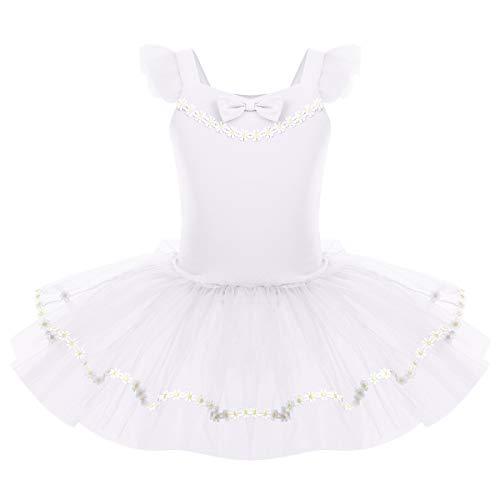 OBEEII Vestido de Ballet Maillot de Danza Gimnasia Leotardo Algodón Body Clásico para Niña Blanco 9-10 Años