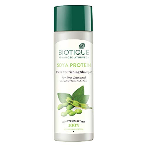 Biotique Bio Soya Protein Fresh Nourishing Shampoo for Dry Damaged and Color Treated Hair, 120ml