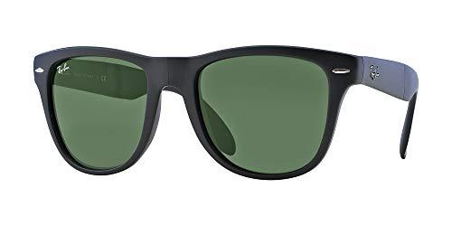 Ray-Ban RB4105 Gafas de sol unisex plegable Wayfarer (marco negro mate/lente verde cristalina 601S, 54)