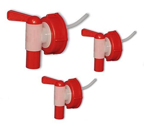 Wilai Lote de 3 Grifos aeroflow para bidón con Apertura DIN 61, HDPE Calidad alimentaria (3x22010)