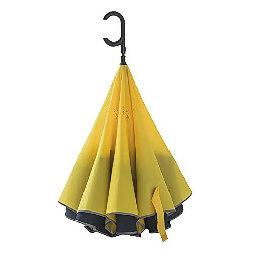 Paraguas invertido con mango en forma de C para lluvia de coche, paraguas resistente a los rayos UV, paraguas de negocios de viaje automático para lluvia, paraguas recto resistente al viento para ho