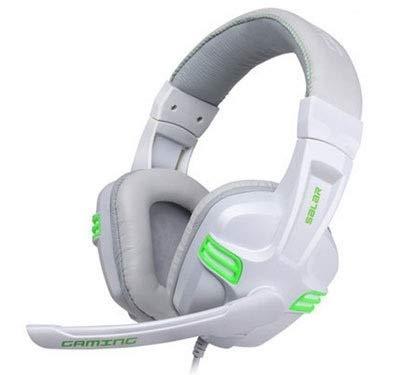 Auriculares para videojuegos, 3,5 mm, con cable, para juegos, PC, Gamer, estéreo, con micrófono, para computadora PingGongHuaKeJiYouXianGongSi (color: blanco)