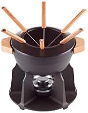 Le Creuset Set de fondue de hierro fundido, Con 2 asas de madera, tapa antisalpicaduras, quemador y 6 tenedores para fondue, Volumen: 2 L, Negro