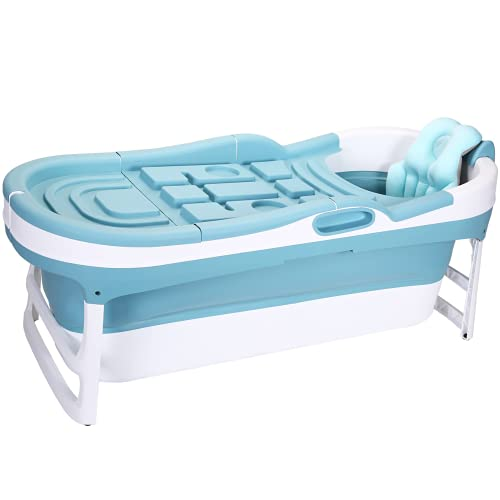 CRS faltbare Badewanne Erwachsene XL 146x65x52cm mit Kissen klappbare mobile Badewanne   foldable bathtub   tragbare Klappbadewanne zum Aufstellen in der Dusche - Bekannt aus YouTube