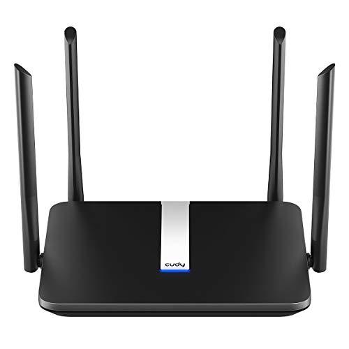 Cudy AC2100 Gigabit Dualband WLAN Router, 1733 Mbit/s (5 GHz) + 300 Mbit/s (2,4 GHz), MU-MIMO, Gigabit Ethernet, 5 dBi Antennen mit hoher Verstärkung, VPN, einfach zu bedienen, WireGuard, WR2100