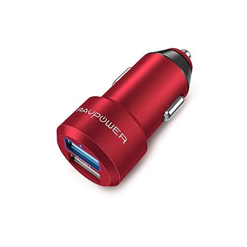 RAVPower Chargeur Voiture Extra Mini Allume Cigare 2 Ports USB 24W / 5V 4,8A iSmart en Alliage d'Aluminium Compatible avec iPhone XS / XS Max / XR / 8 / X / 7, Galaxy S7 / S6 / Edge / Plus etc.–Noir