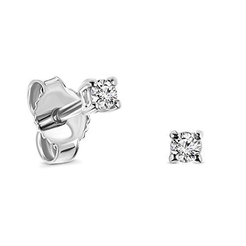 Miore Ohrringe Damen 0.08 Ct Solitär Diamant runde Ohrstecker aus Weißgold 9 Karat / 375 Gold, Ohrschmuck
