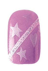 Party Nails Pre-glued 2x Sets of 12 Nails Each Pack Total of 24 Nails in Color Purple Hearts and Stars #88540 + A-viva Eco Nail File by Party Nails