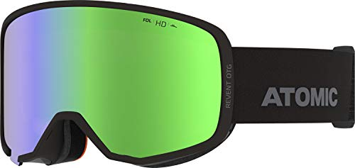 Atomic, All Mountain-Skibrille, Unisex, Für wolkiges bis sonniges Wetter, Large Fit, Kompatibel mit Sehbrille, HD-Technologie, Revent HD OTG, Schwarz/Grün HD, AN5106074