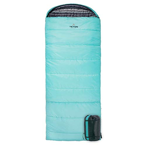 TETON Sports Celsius Regular Sleeping Bag; Great for Family Camping, Teal Poly Liner, Left zip