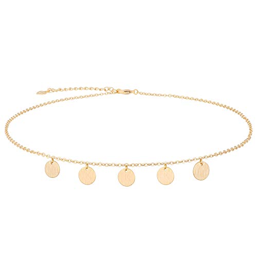 PearlyPearls 18K Gold Boho Coin Chain Choker Necklaces for Women Dainty Simple Cute Layered Tiny Dot Disc Round Circles Charm Dangling Pendant Necklaces Gift for Her