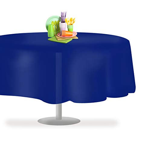 Navy Blue 6 Pack Premium Disposable Plastic Tablecloth 84' Inch Round Table Cover By Grandipity