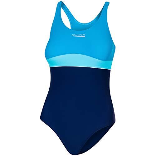 Aqua Speed einteiliger Badeanzug für Mädchen 8/10 Jahre | Schwimmanzug blau türkis | Badebekleidung | Swimwear Kids Girls mit UV-Schutz | 42 Navy - Turquoise - Light Turquise | Emily