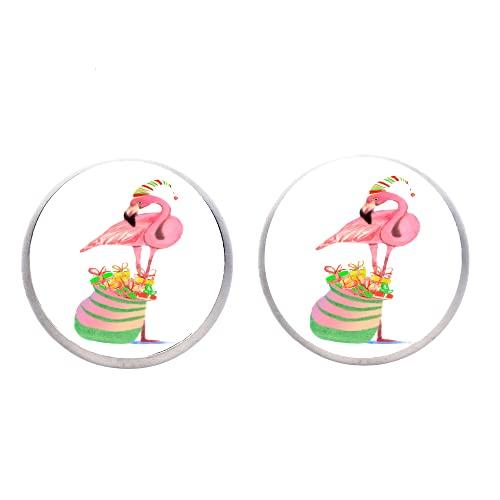 Pendientes de flamenco rosa y tesoros con diseño de flor de selva y pájaro alto, lindo sombrero de cristal dulce gema pendientes mujeres niña fiesta joyería