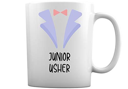 Tazas de café de boda para toda la familia | Elige entre más de 30 diseños de tazas de café blancas de 11 oz para novio mejor hombre dama de honor + más (Junior Usher)