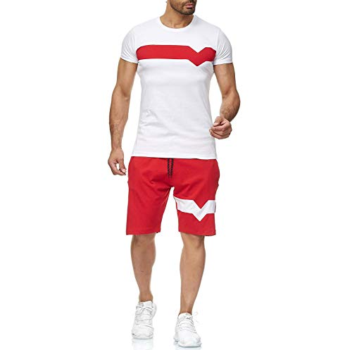 Raylans Men's Summer Short Sleeve T-Shirts & Shorts 2 Pieces Tracksuit Casual Sports Sets